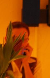 Med mobilen bakom tulpanerna